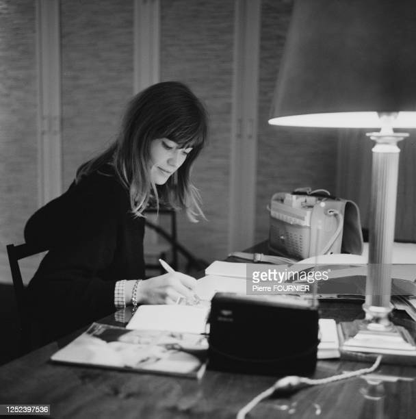 French singer Francoise Hardy at home.