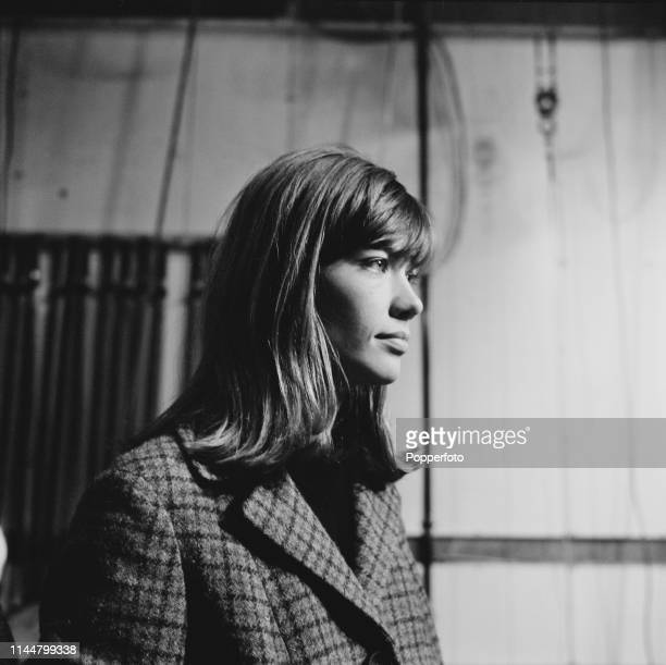 French singer Francoise Hardy pictured during an appearance on the Associated Rediffusion music television show Ready Steady Go! at Kingsway Studio...