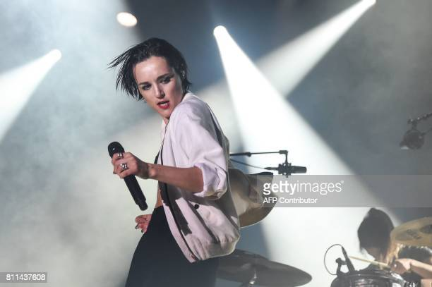 French singer from indie band Savages, Jehnny Beth performs on stage during the 29th Eurockeennes rock music festival on July 9, 2017 in Belfort,...