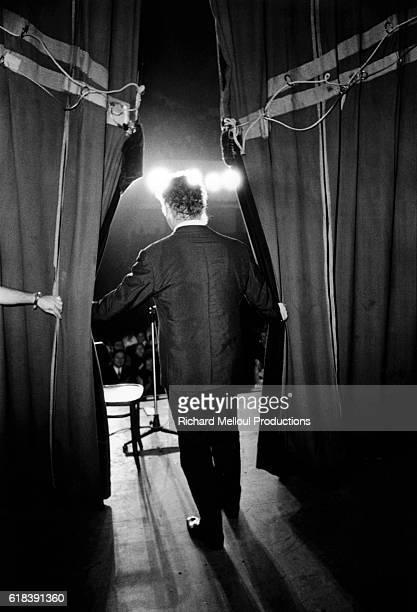 French singer George Brassens on stage at Bobino