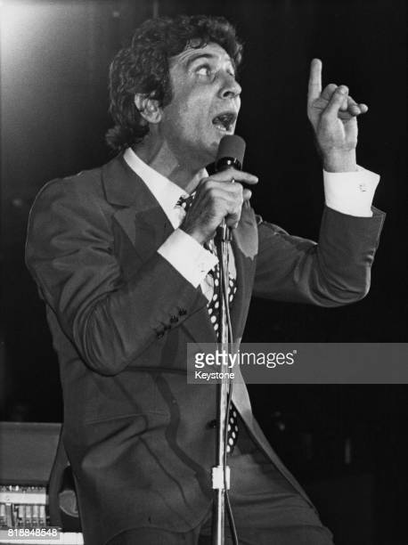 French singer Gilbert Bécaud performs at Olympia in Paris France after two years' absence from the music scene 10th November 1977