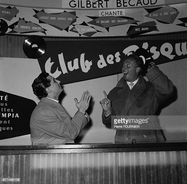 French singer Gilbert Becaud and Charles Trenet at Paris Olympia concert hall
