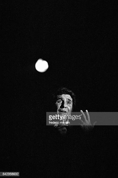 French singer Gilbert Becaud on stage in Antwerp before his concerts at the Paris Olympia concert hall