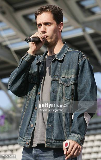 French singer Grand Corps Malade performs on stage before French socialist presidential candidate Segolene Royal's campaign rally on May 1 2007 in...