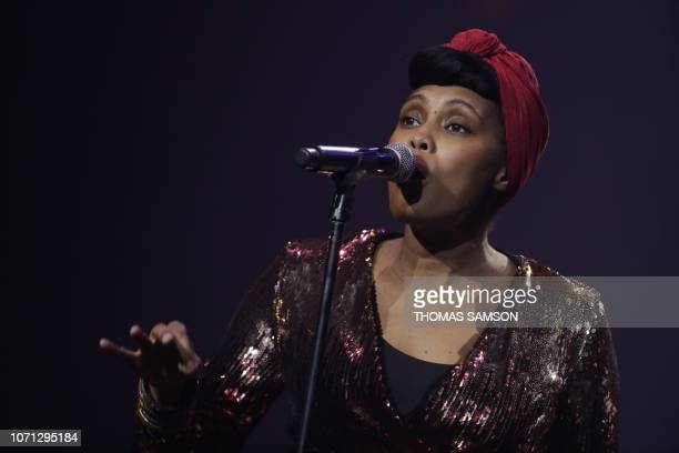 French singer Imany awarded best 'export Sacem repertoire' sings during the SACEM Grand Prix awards ceremony on December 10 2018 at the Salle Pleyel...