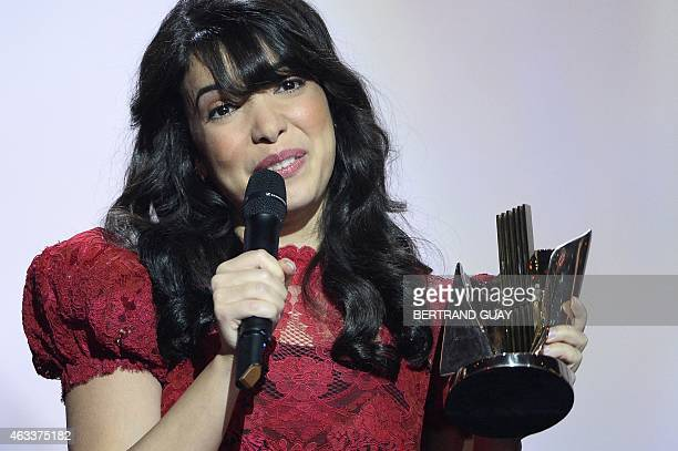 French singer Indila speaks after receiving the best newcomer album award for the album Mini World during the 30th Victoires de la Musique the annual...