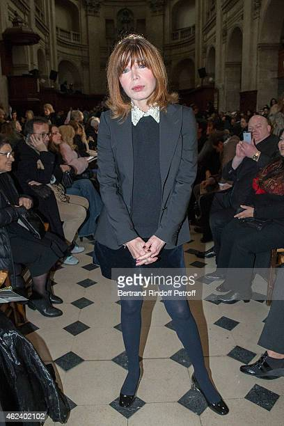 French singer Isabelle Morizet AKA Karen Cheryl attends the Franck Sorbier show as part of Paris Fashion Week Haute Couture Spring/Summer 2015 on...