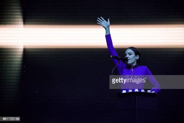 French singer Jain performs during a concert at the Solidays music festival on June 22 2018 at the hippodrome de Longchamp in Paris