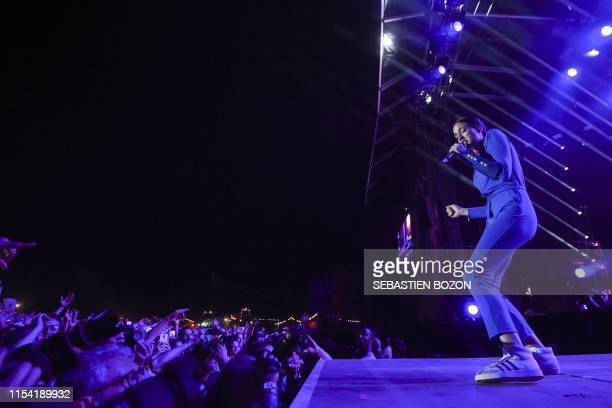 French singer Jain performs on stage during the 31st Eurockeennes rock music festival in Belfort eastern France on July 6 2019 / The erroneous...