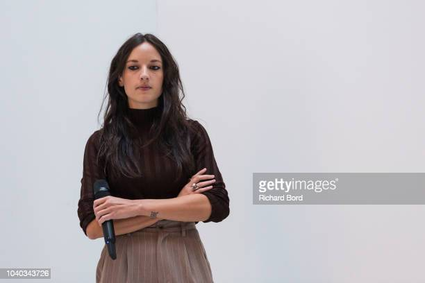French singer Jain prepares backstage before the ETAM show as part of the Paris Fashion Week Womenswear Spring/Summer 2019 on September 25 2018 in...