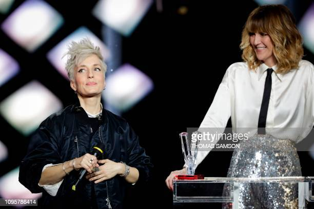 French singer Jeanne Added celebrates after receiving the the best rock album award during the 34th Victoires de la Musique the annual French music...