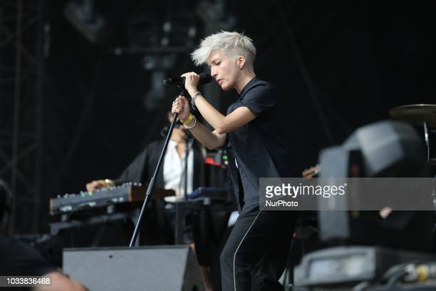 French singer Jeanne Added performs on stage during the Festival of Humanity a political event and music festival organised by the French Communist...