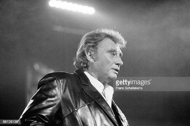 French singer Johnny Halliday performs at the Paradiso on November 7th 1994 in Amsterdam Netherlands