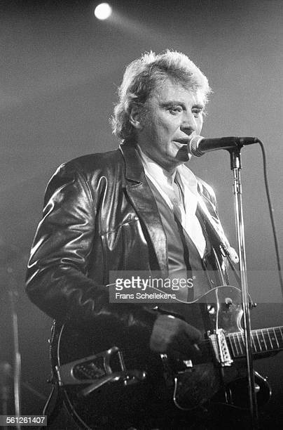 French singer Johnny Halliday performs at the Paradiso on November 7th 1994 in Amsterdam, Netherlands.