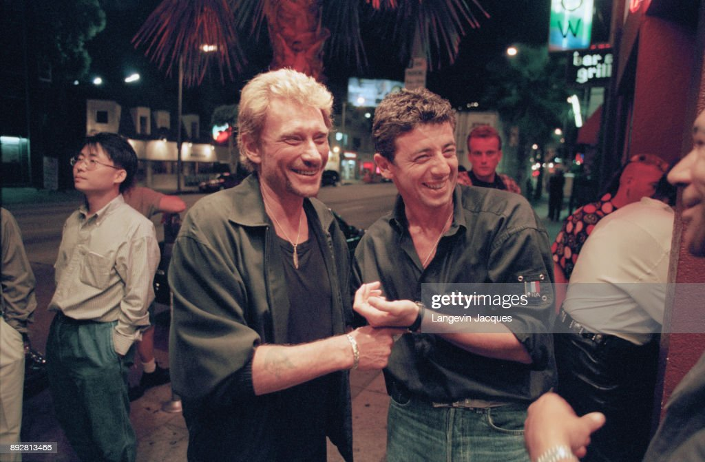 French singer Johnny Hallyday and Patrick Bruel in Los Angeles, 15th July 1998