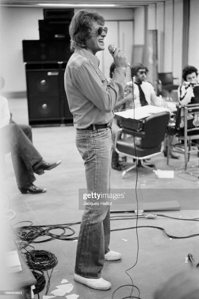 French singer Johnny Hallyday during a recording session.