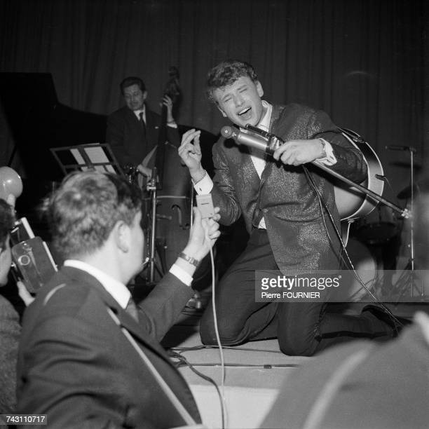 French singer Johnny Hallyday on stage at the Palais des Sports for the first 'Night of Rock' Paris 25th February 1961