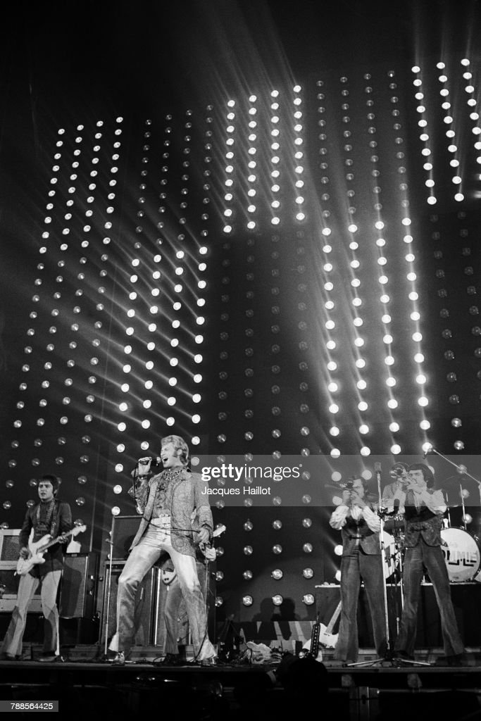 French singer Johnny Hallyday on stage at the Palais des Sports, in Paris.