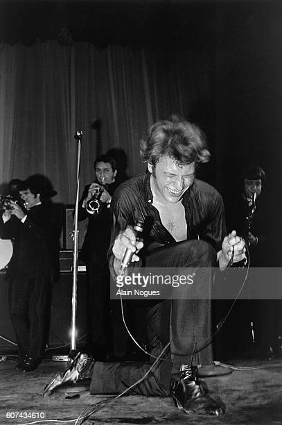 French singer Johnny Hallyday performs during Musicorama at the Olympia concert hall