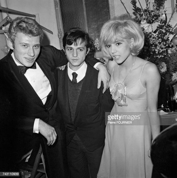 French singer Johnny Hallyday with his wife Sylvie Vartan at the Olympia Hall in Paris 16th January 1964