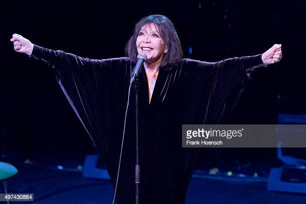 French singer Juliette Greco performs live during a concert at the FriedrichstadtPalast on November 16 2015 in Berlin Germany