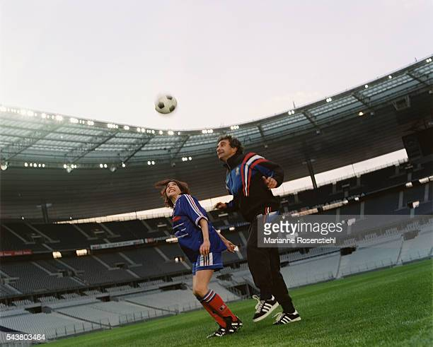 French singer Liane Foly and former soccer player Dominique Rocheteau at Stade de France