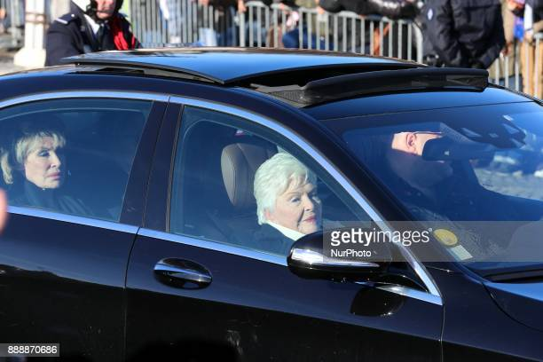 French singer Line Renaud arrives on the place de la Concorde in Paris to the funeral ceremony in tribute to late French singer Johnny Hallyday on...