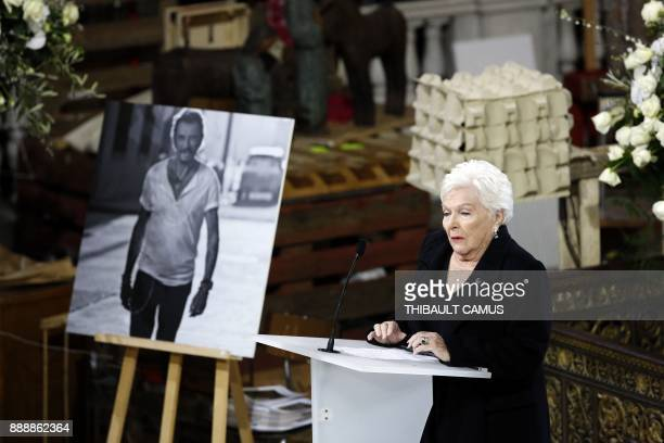 French singer Line Renaud speaks during the funeral ceremony for late French singer Johnny Hallyday at the Eglise de la Madeleine in Paris on...