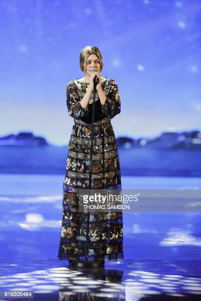 French singer Louane performs during the 33rd Victoires de la Musique the annual French music awards ceremony on February 9 2018 at the Seine...