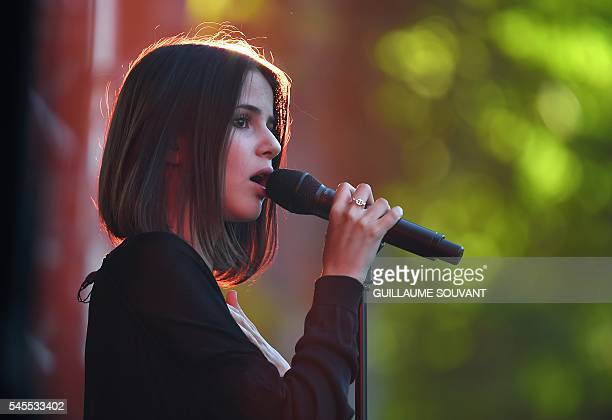 French singer Marina Kaye performs on stage during the 23rd edition of the Cognac Blues Passion festival on July 8 2016 in Cognac / AFP / GUILLAUME...