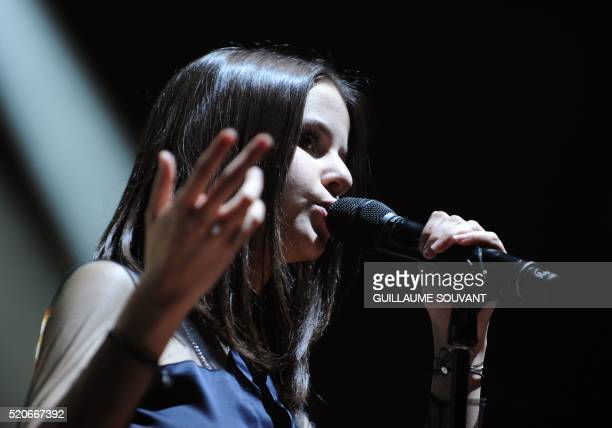 French singer Marina Kaye performs on stage during the 40th edition of Le Printemps de Bourges rock and pop music festival in Bourges on april 12 2016