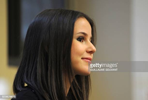 French singer Marina Kaye smiles during a press conference on the first day of the 40th edition of Le Printemps de Bourges rock and pop music...