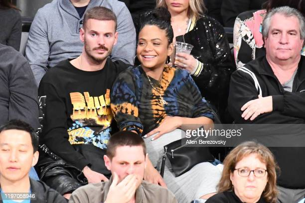 French singer Matt Pokora and Christina Milian attend a basketball game between the Los Angeles Lakers and the Phoenix Suns at Staples Center on...