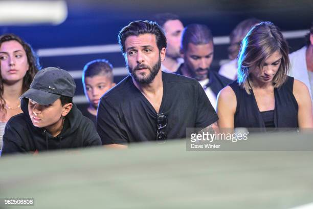 French singer Maxime Nucci his son Aaron Nucci and partner French journalist and tv presenter Isabelle Ithurburu during La Conquete Acte 5 boxing...