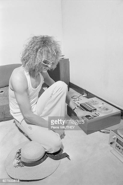 French singer Michel Polnareff listens to music at home in Paris