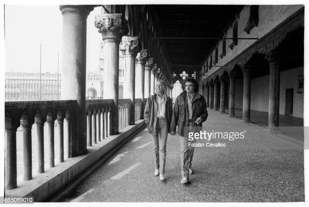 French Singer Michel Sardou and His Wife Babette in Venice