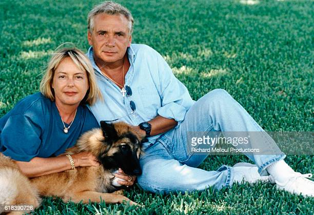 French Singer Michel Sardou and his wife Babette on vacation in Miami Florida