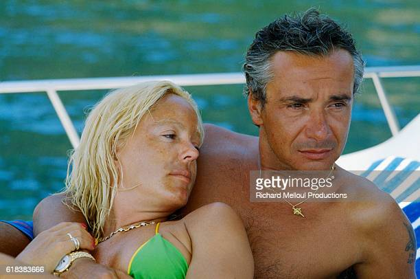 French Singer Michel Sardou and his wife Babette on vacation in StTropez France