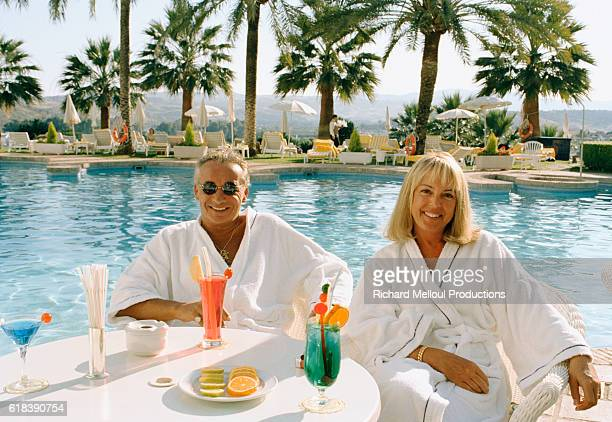 French Singer Michel Sardou and his wife Babette on vacation on the Costa del Sol in Spain
