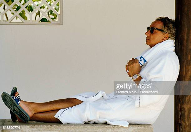 French Singer Michel Sardou relaxing while on vacation on the Costa del Sol in Spain