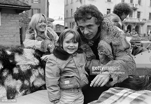 French singer Michel Sardou with his wife Babette and his sons Romain and Davy on winter holiday