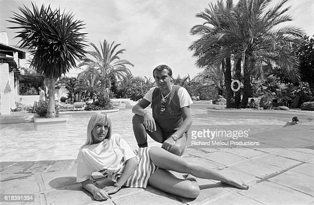 French singer Michel Sardou with his wife Babette in Marbella