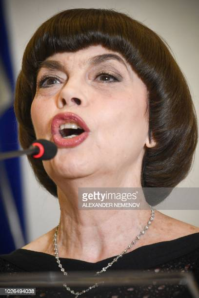 French singer Mireille Mathieu delivers a speech during her lecture after receiving the honoured professor award of the State Academic University for...
