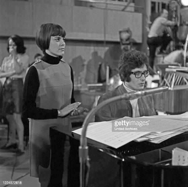 French singer Mireille Mathieu doing rehearsals for a concert at Hamburg Germany circa 1969