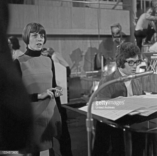 French singer Mireille Mathieu doing rehearsals for a concert at Hamburg, Germany circa 1969.