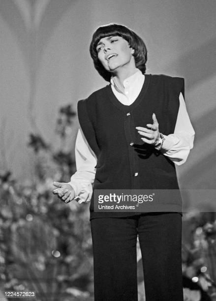 French singer Mireille Mathieu performing on German TV Germany circa 1981