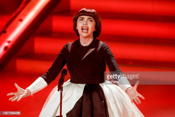 French singer Mireille Mathieu performs during the annual tv show 'Das Adventsfest der 100000 Lichter' on December 1 2018 in Suhl Germany