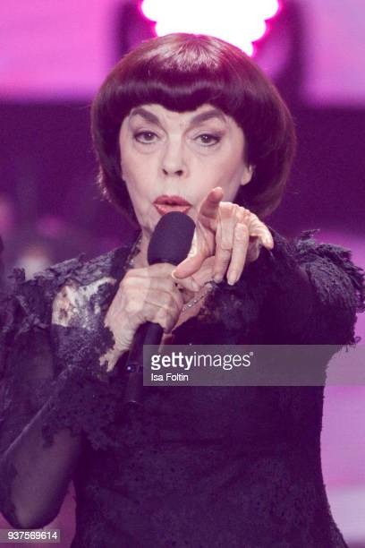 French singer Mireille Mathieu performs during the tv show 'Willkommen bei Carmen Nebel' on March 24 2018 in Hof Germany The show will be aired on...