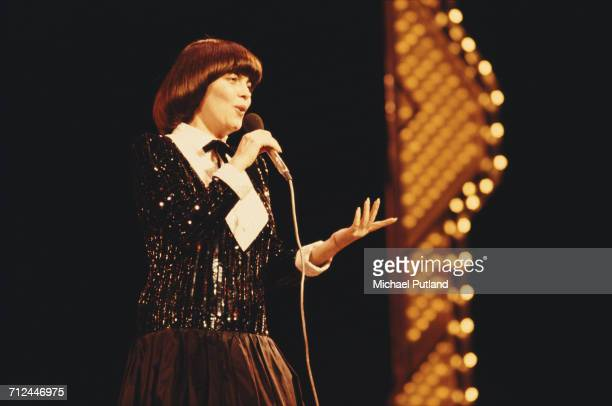 French singer Mireille Mathieu performs live on stage at the Royal Variety Performance Theatre Royal Drury Lane London on 17th November 1981