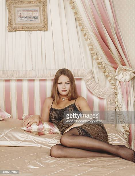 French singer model and actress Vanessa Paradis posing on a bed 1992